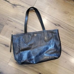 Fossil Black Leather Zip Top Tote